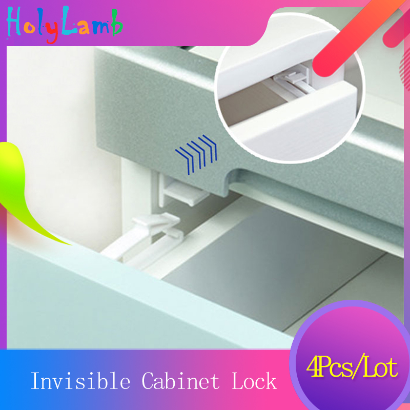 4Pcs Lot Invisible Cabinet Lock Baby Safety Drawer Lock Latches Baby Security Protection From Children Safety Door Lock Castle in Cabinet Locks Straps from Mother Kids