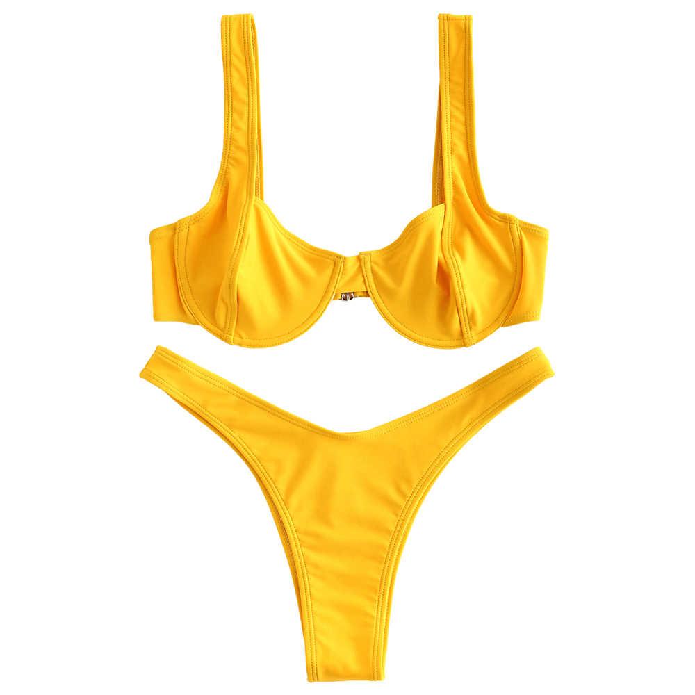ZAFUL sexy strój kąpielowy kobiety push up bikini bikini wysoko wycięte zestaw halter stroje kąpielowe kobiet micro bandaż strój kąpielowy strój kąpielowy