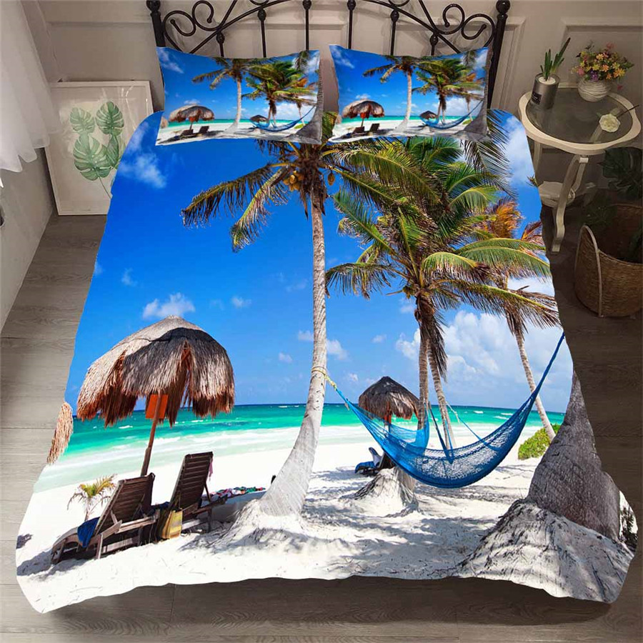 Bedding Set 3D Printed Duvet Cover Bed Set Beach Coconut Tree Home Textiles for Adults Bedclothes with Pillowcase #HL30-in Bedding Sets from Home & Garden