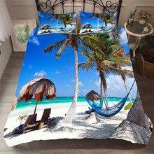 Juego de cama con funda de edredón estampada en 3D, Textiles para el hogar, playa, árbol de coco, para adultos, ropa de cama con funda de almohada # HL30