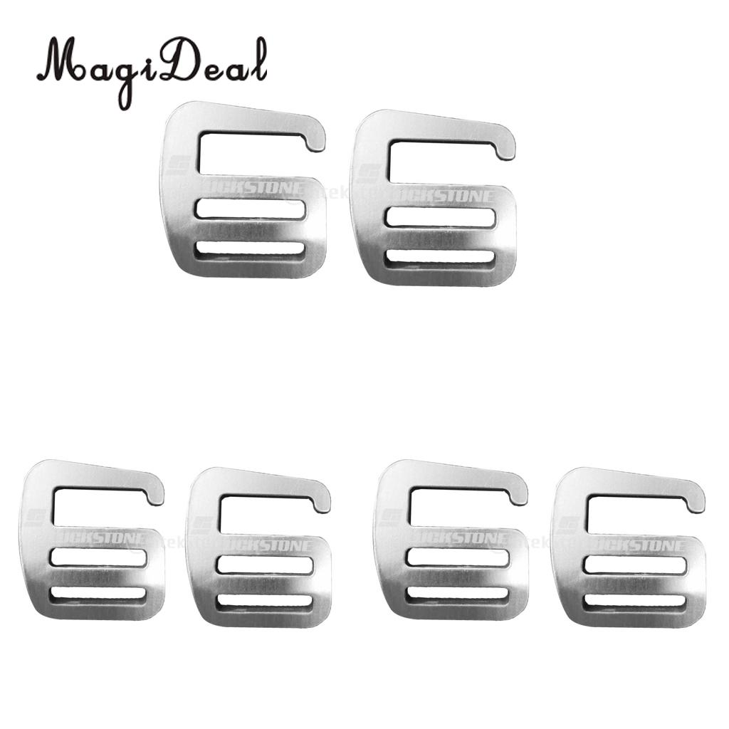 6 Pieces Metal G Hook Webbing Buckle For Backpack Bag Aluminium Alloy 25mm Silver