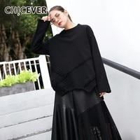 CHICEVER Autumn Sweatshirt For Women Top Loose Big Size Hem Irregular Black Pullovers Sweatshirts Clothes 2018 Fashion Tide New