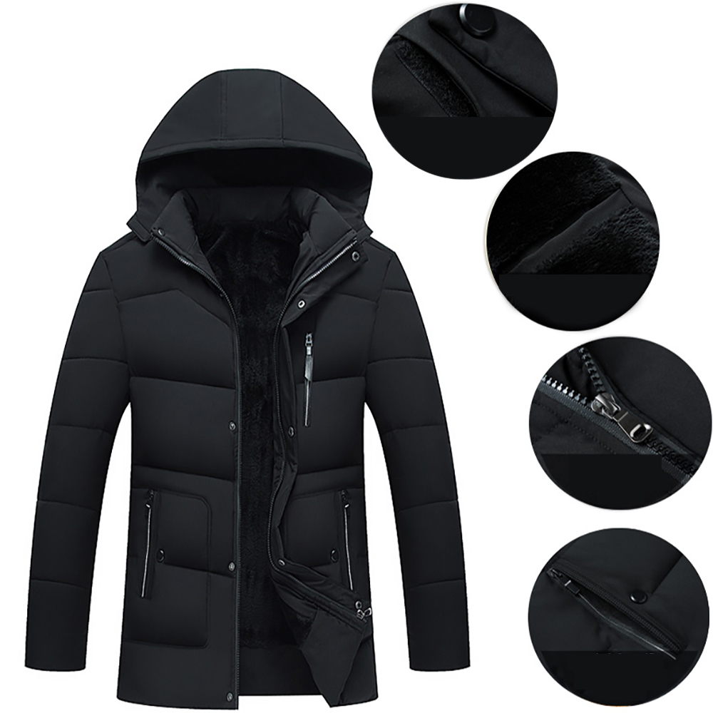 Winter Men Cotton Padded Jacket Men's Black Solid Color Outdoors Thicken Warmer Big Size Male Casual   Down   Jacket   Coat