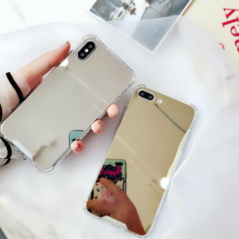 لينة حقيبة لهاتف أي فون X XS ماكس XR 7 8 6S 6 Plus حالات صدمات مرآة جراب لظهر الجوال لسامسونج S10 S9 S8 زائد S10e Coque