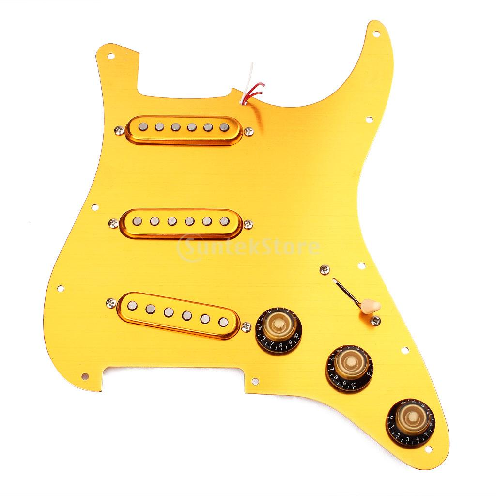 Gold Prewired Loaded 3 Single Coil Pickups Pickguard SSS for Strat ST Guitar цена