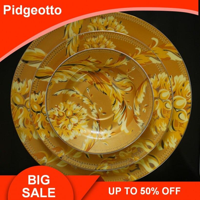 European Luxury Golden Phoenix Bone China Dinnerware Set Jingdezhen Porcelain Sun God Dish Plate Home Decoration Hanging Plate