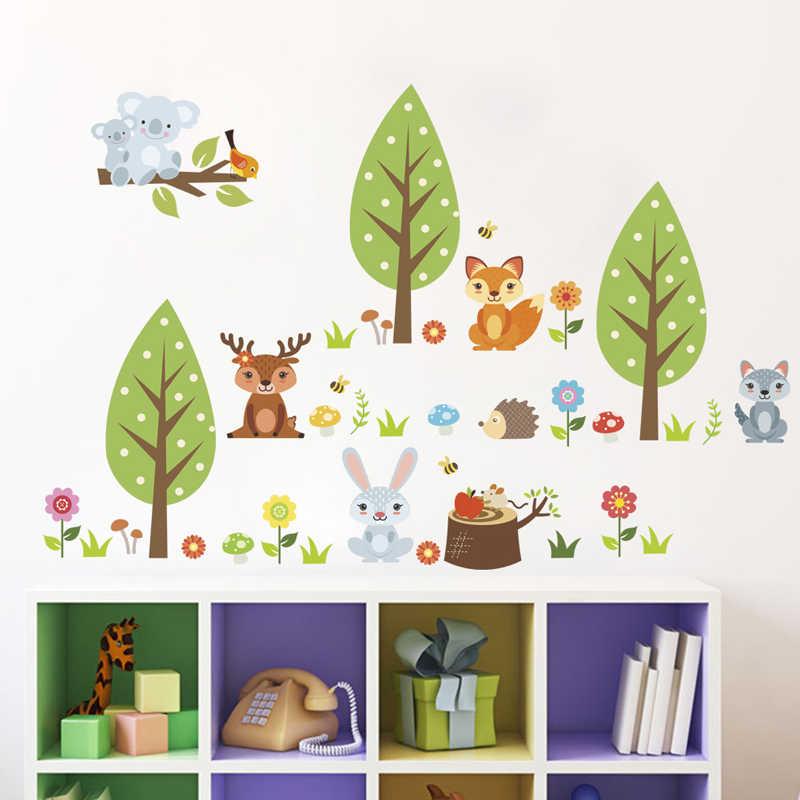 BalleenShiny コアラキツネ漫画木の壁のステッカー DIY ビニールクリエイティブ壁画デカール子供のためのベビールームキャビネット保育園装飾