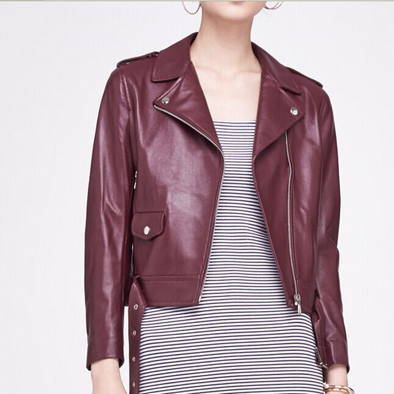 Classic Women's Jacket Wine Red Genuine Leather Suede Short Jacket Chaquetas De Cuero Mujer Leather Jacket