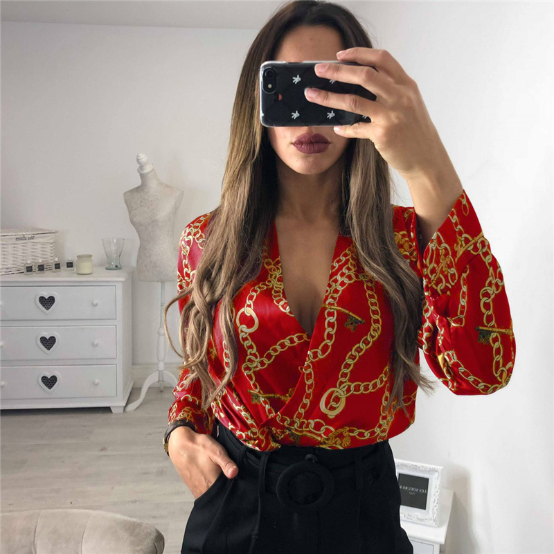 Vintage Silk Rompers Womens Jumpsuit Long Sleeve Chain Print Top Shirt Ladies Deep V Neck Key Printed Sexy Satin Bodysuits jeans con blazer mujer