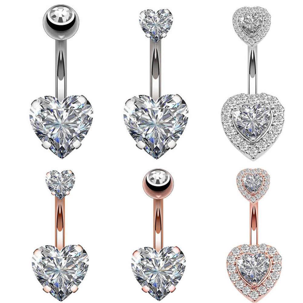 Brinco umbigo piercing barriga aço botão da barriga anéis de cristal piercing umbigo estilo do coração piercing sexo corpo jóias piercings