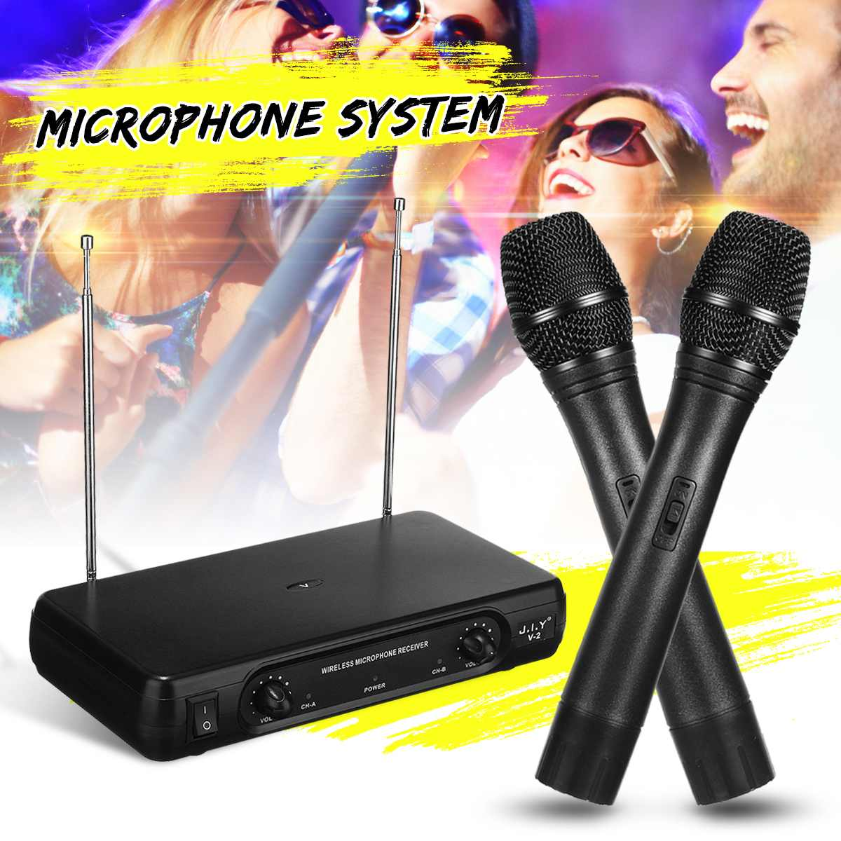 Dual Professional VHF Wireless Microphone System Cordless Handheld Mic Receiver Microphones Karaoke with 2 MicrophonesDual Professional VHF Wireless Microphone System Cordless Handheld Mic Receiver Microphones Karaoke with 2 Microphones