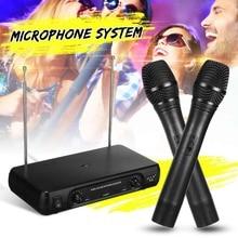 Двойной Профессиональный УКВ беспроводной микрофон системы беспроводной ручной микрофон приемник микрофоны караоке с 2 микрофонами