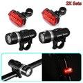 2x наборы Светодиодная лампа для велосипеда MTB передняя фара + задний фонарь безопасности комплект