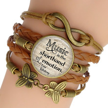 Music Is The Shorthand of Emotion, Leo Tolstoy Quote Bracelet Men Punk Leather Bracelet Infinity Jewelry(China)