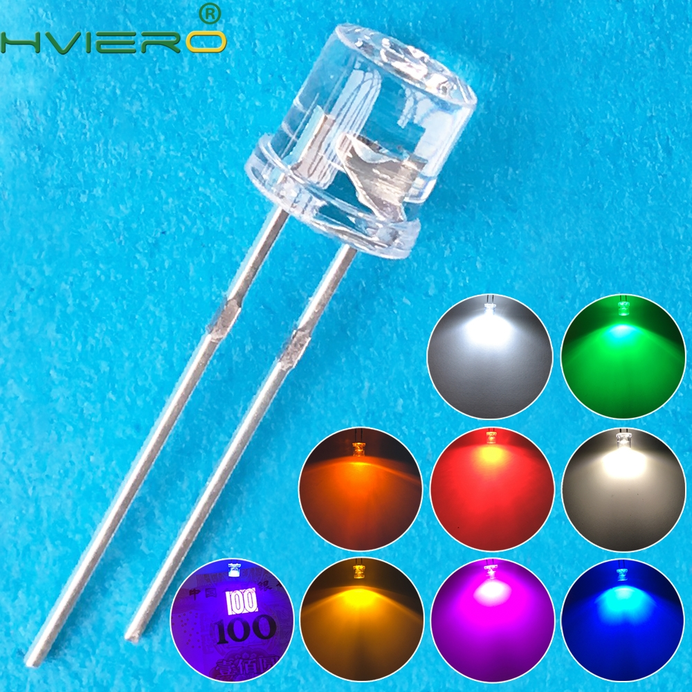 100pcs 5mm Flat top white Red Pink Yellow Blue Wide Angle Light lamp Diode LED ultra bright bulbs emitting diodes F5 5mm Lamp 100pcs 5050 white red green white yellow rgb purple uv 410 415nm led smd smt chips led diode ultra bright light emitting diodes