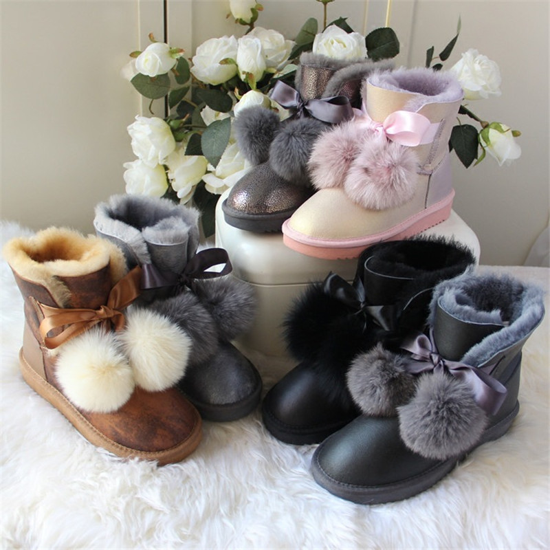 En Naturel Waterproof Neige Cuir Réel Automne Mouton Chaussures chestnut Femmes gray Punk Printemps gray Caoutchouc black Peau Demi Bérets gray Pour Pic De 2018 Bottes Waterproof as black Waterproof Pink sandy As pink Les gray Pic Pic TnwfEPq