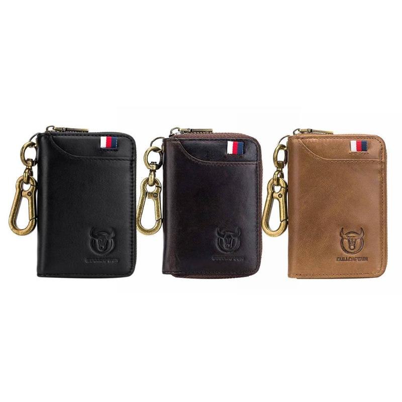 BULLCAPTAIN Original Key Holder Leather Card Wallet for Men Vintage Soft Leather Car Keychain Coin Purse Case Zipper Wallet 2019