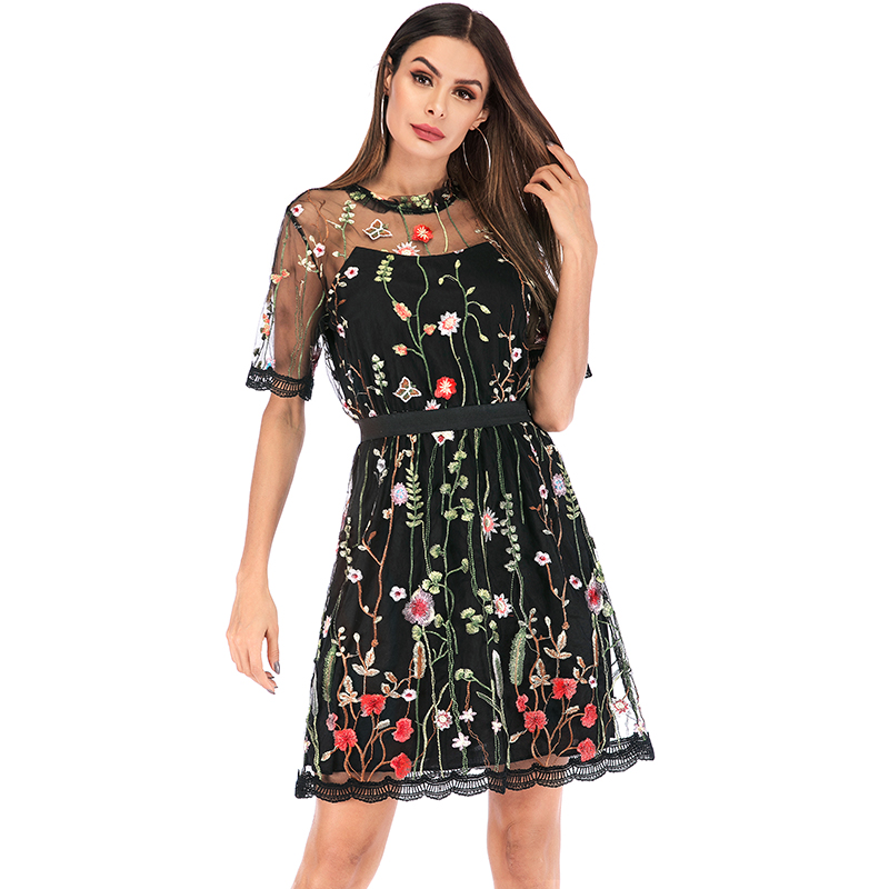 Fashion Women Floral Embroidery Dress Summer Boho Mini A-line Dress Sheer Mesh See-through Black Dress 2019 Vestidos De Festa
