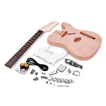 Muslady未完成エレキギターDIYキットTLテレスタイルエレクトリックギターマホガニーボディメープルウッドネックローズウッド指板バジョエレクトリックパラアーマー