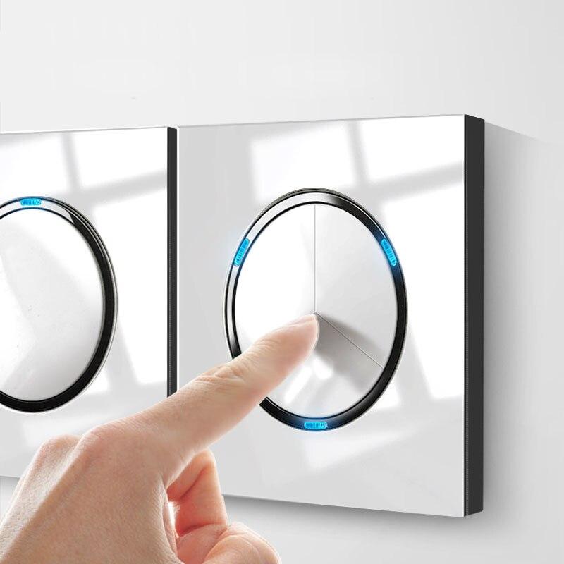 Interruptor de pared a presión de cristal de espejo blanco 86 Tipo 1 2 3 4 gang 2 way con luces LED para el hogar industria del zócalo alemán de Francia