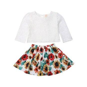 c8ab3f315 CANIS niños recién nacido bebé niñas girasol Tops de encaje de la falda de  la camiseta trajes primavera otoño conjunto de ropa vestidos de niña niños  lindo