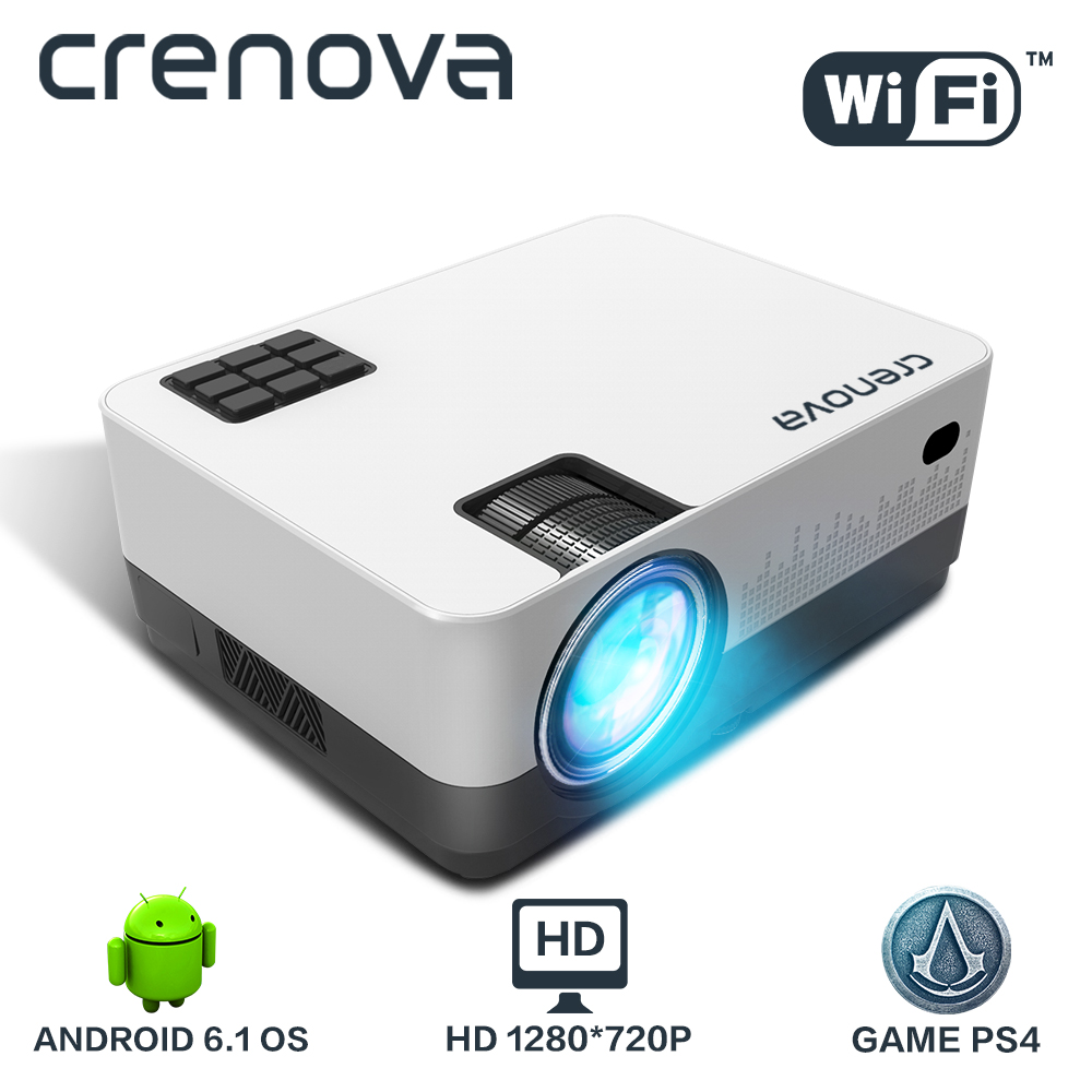 CRENOVA 2019 Più Nuovo HD 1280*720 p Video Proiettore Con Android 6.1 OS WIFI Bluetooth 4300 Lumen Home Cinema proiettore di film