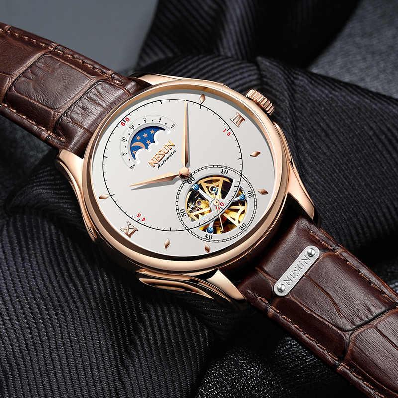 יוקרה למעלה מותג NESUN חדש גברים אופנה ספורט אוטומטי מכאני שעון יד עמיד למים שלד Mens מזדמן שעון Montre Homme