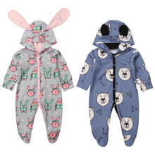 Cartoon Bunny Newborn Baby Boys Girls Rompers 3D Ear Animal Romper Long Sleeve Baby Girl Jumpsuit Autumn Spring Baby Clothing(China)
