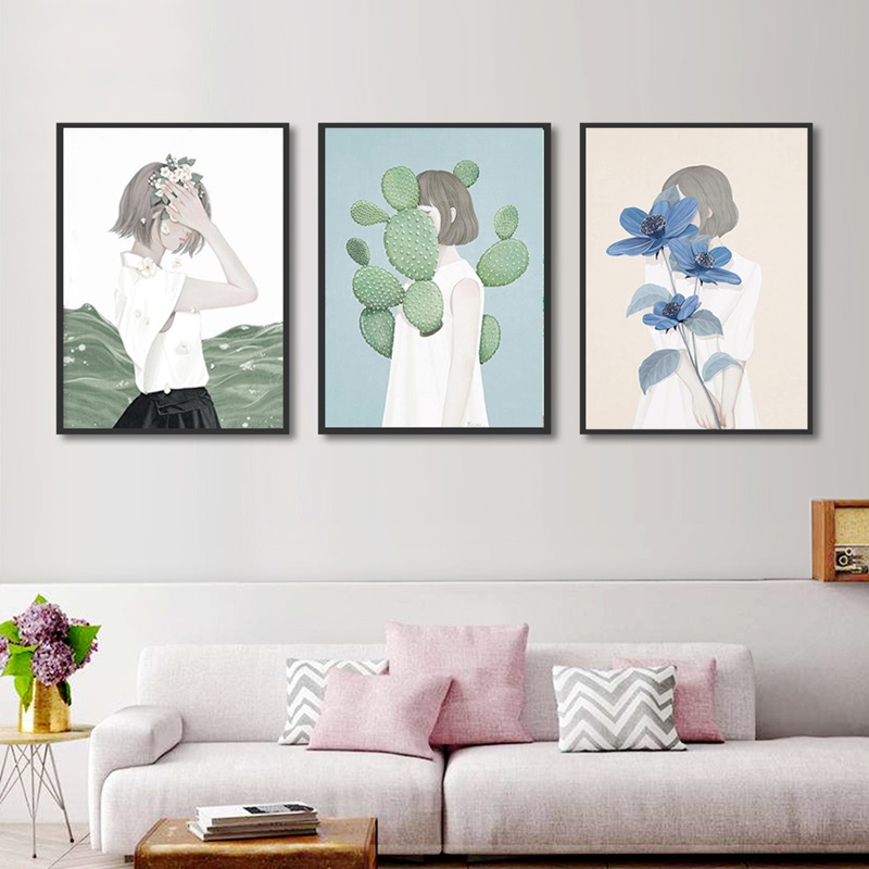 Fresh Girls With Green Plant Canvas Painting Simple Nordic Decoration Home Wall Art Posters And Prints Bedroom Decor Pictures Painting Calligraphy Aliexpress