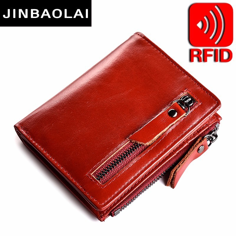 Women Leather Wallet Bifold Zip Purse Retro Credit Card Holder Double Zipper Pocket Wallet 6 ID Card Holders Zipper Coin Pocket