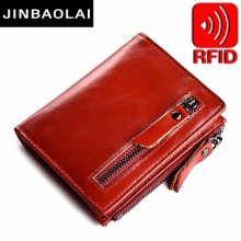 Women Leather Wallet Bifold Zip Purse Retro Credit Card Holder Double Zipper Pocket 6 ID Holders Coin