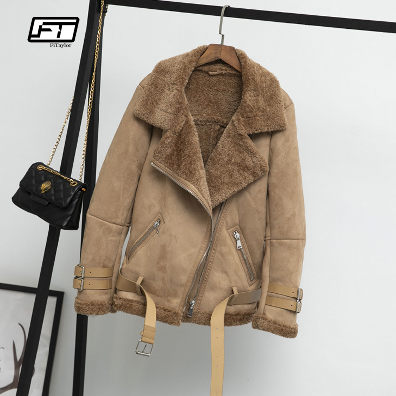 Fitaylor Women Faux   Leather   Lambs Wool Fur Collar   Suede   Jacket Coats Warm Winter Thick Female Loose Faux Lamb Jacket Outerwear