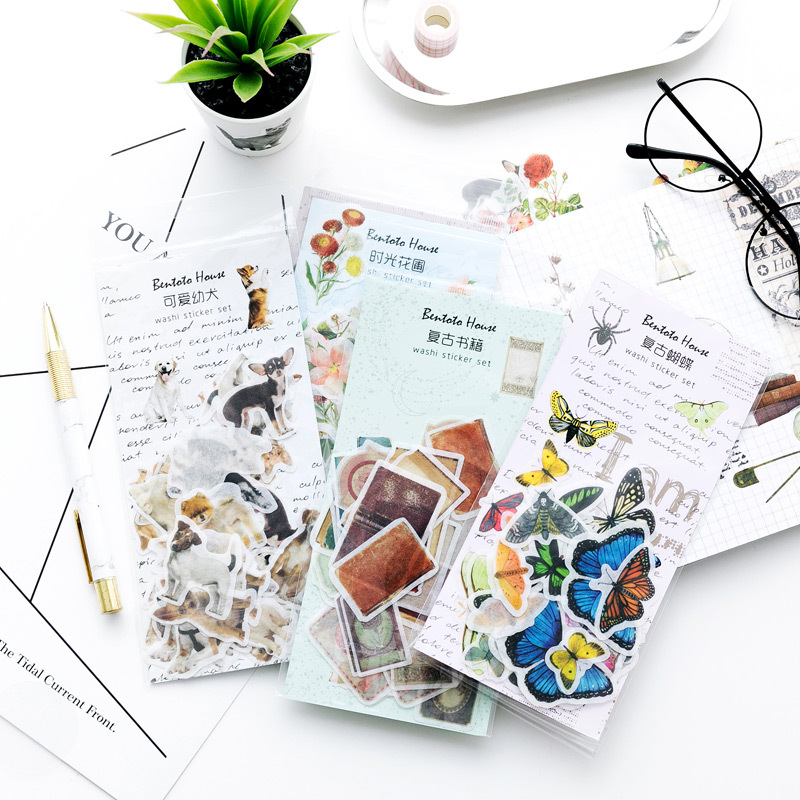 Plants Animal Stickers Set Decorative Stationery Stickers Scrapbooking DIY Diary Album Stick Lable School Supplies Memo Sticker