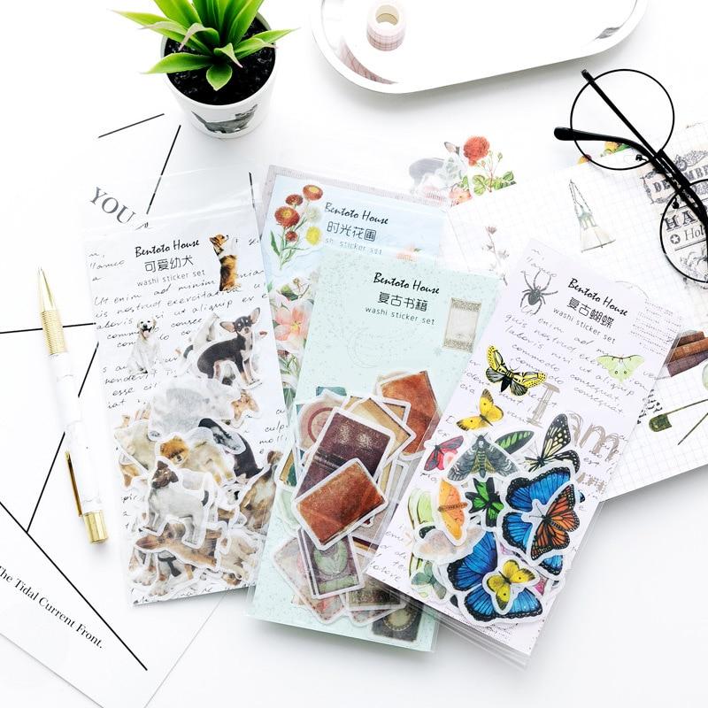 Plants Animal Stickers Set Decorative Stationery Stickers Scrapbooking DIY Diary Album Stick Lable School Supplies Memo Sticker