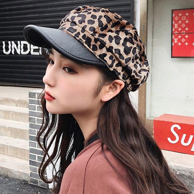 Vintage Women Men Baker Boy Cap Leopard Print Peaked Military Hat Newsboy  Cap Gavroche Retro Unisex Fashion Winter Headwear 7d6c9330f6a