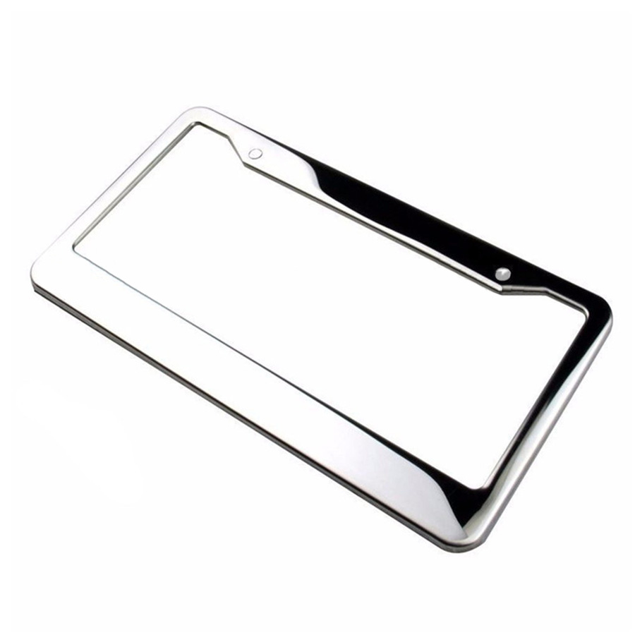 2Pcs set Metal License Plate Frame Silver Stainless Steel Tag Cover Screw Caps in License Plate from Automobiles Motorcycles