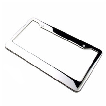 2Pcs/set Metal License Plate Frame Silver Stainless Steel Tag Cover Screw Caps