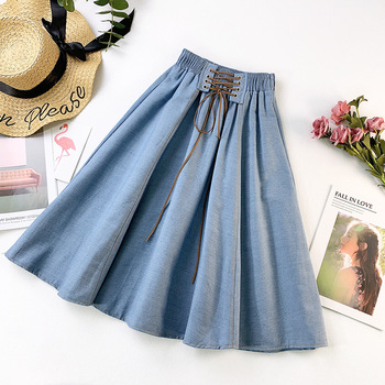PEONFLY Autumn Winter Fashion Women Skirt Solid Color Lace-up High Waist Denim Skirt Retro Pleated Midi Denim Flared Skirts 1