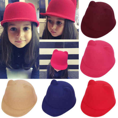 94183214809c4 Unisex Wool Parent-Children Women Kids Ear Cap Beanies Hat Derby Cat Cotton  Fedora Bowler