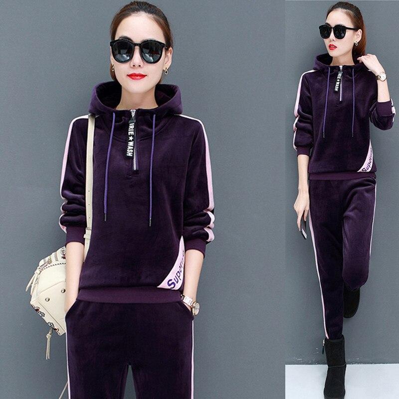 7bc6dd91c92b Femminile Con purple Green Dark Manica Felpe Sport Delle Pantaloni Del  Vestito black Casual 2019 Di ...