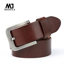 MEDYLA 2019 Men's Belt Premium Original Leather Sturdy Metal Pin Buckle Jeans