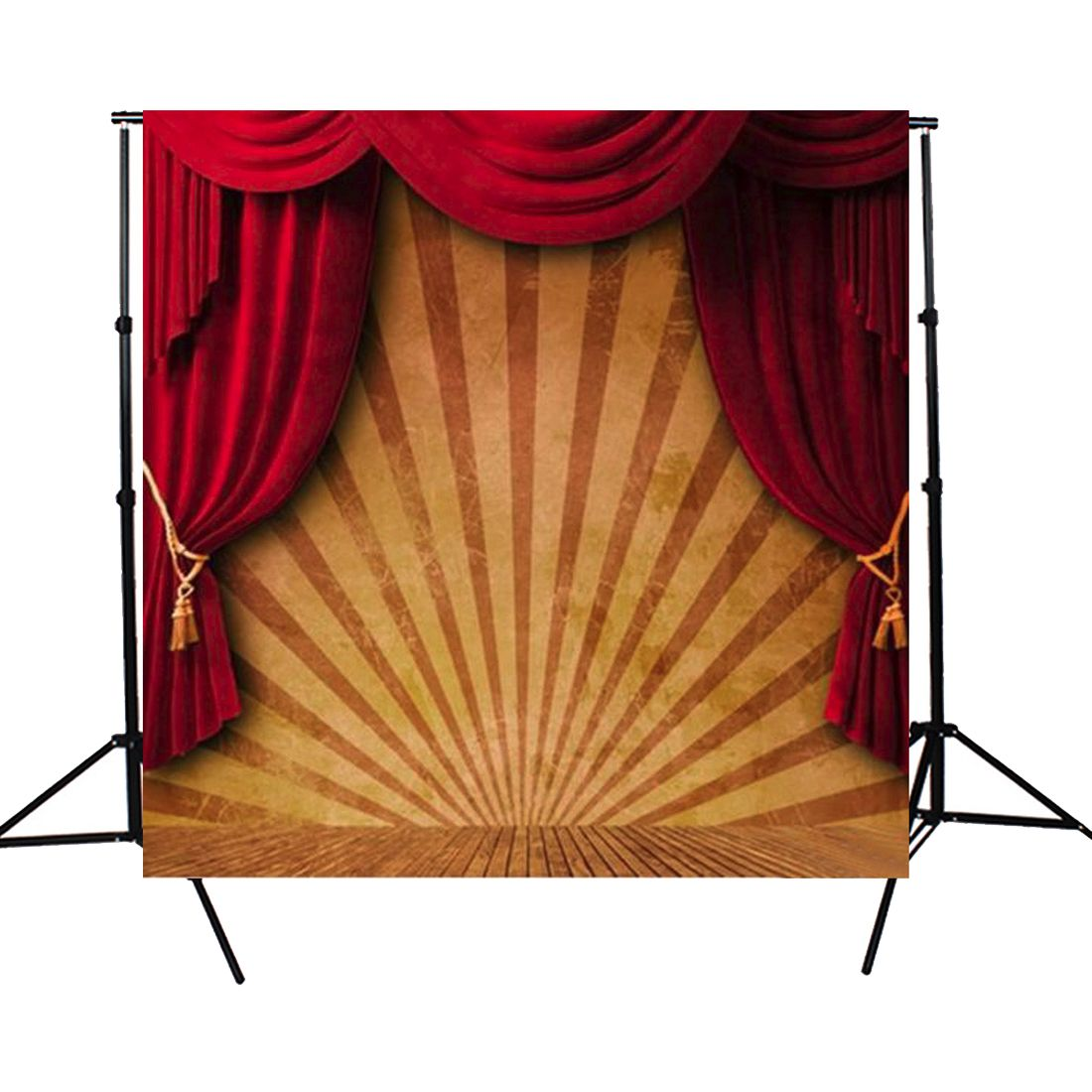 10x10FT Circus Red Curtain Stage Photography Backdrop Background Studio Vinyl Durable Folding Light Weight Photography Tool