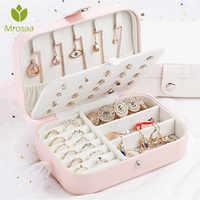 Korean Style Fresh Simple Girl Earrings Plate Jewelry Box Organizer Leather Earrings Ring Multi-function Jewelry Storage Box Bin