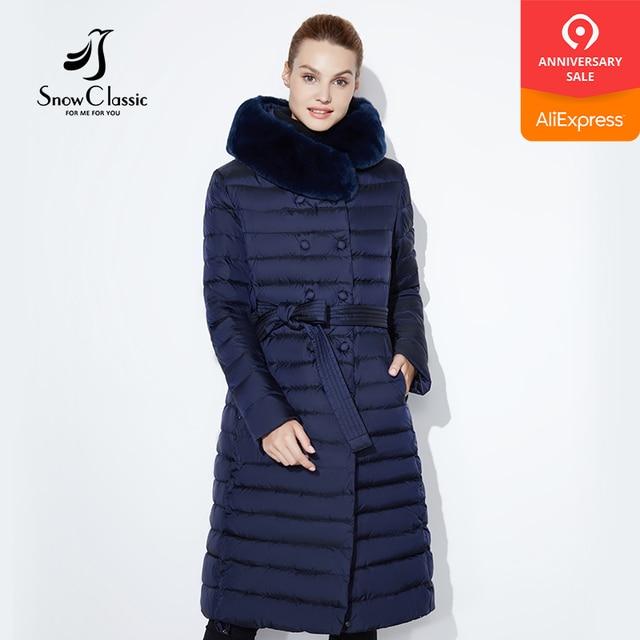 Snowclassic Новинка 2017 зимняя длинная куртка модная женская утепленная пальто Зимняя верхняя одежда, утепленная куртка передний край меха лисы воротник