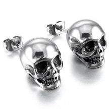 2018 Fashion Women Punk Skull Jewelry Silver Color Earrings Skeleton Couple Earrings Unsex Ear Studs full body skeleton earrings 24k pure gold skull skeleton men and women gold earrings earrings