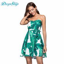 54a8bf116ca Dropship Retro Tropical Floral Leaf Women Ruffle Loose Strapless Sleeveless  Tunic 2019 Beach Summer Short Dresse Female Robe