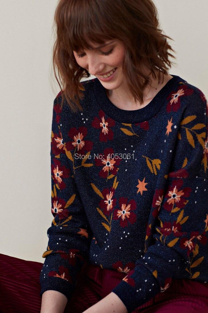 Cotton Metallic Yarn Jacquard Knit Sweater 2019 Spring New Women Blue Round Neck Knitting Sweater