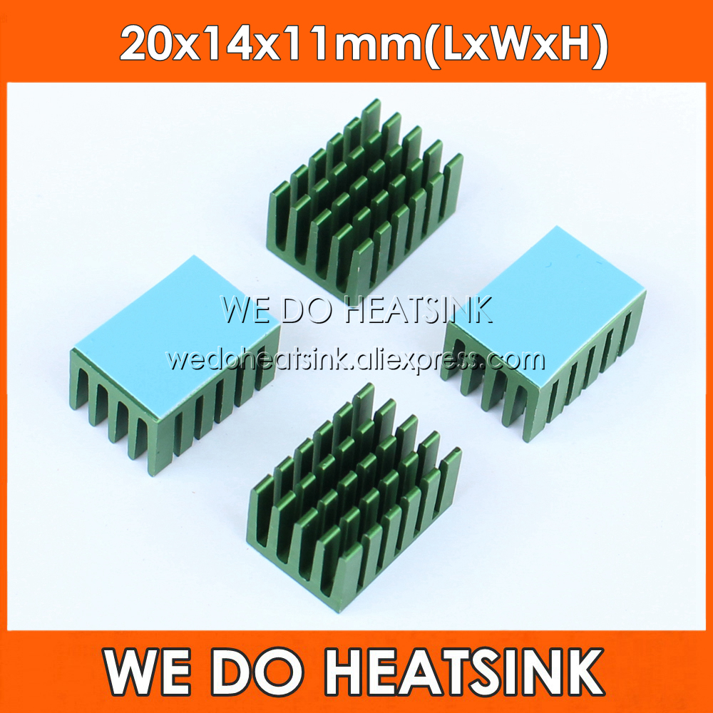 5pcs 20x14x11mm Aluminum Network Routers Chip Heat Sinks Green Anodize Radiator Cooler With Thermal Pad