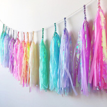2pack (10pcs )Tissue Paper Tassels Garlands  DIY Rainbow Tissue Tassel Garland Bunting Birthday Wedding Party Decor