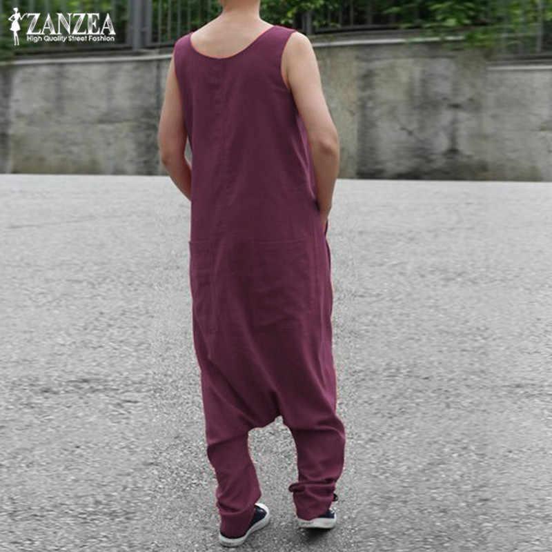 Для женщин Комбинезоны для 2019 ZANZEA плюс размеры брюки карго малышек летние брюки девочек женские без рукаво